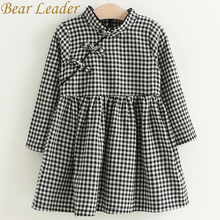 Bear Leader Girls Dress 2017 Autumn Brand Baby Girls Chinese Style Lattice Cheongsam Kids Children Clothing Dress