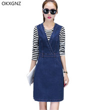 Okxgnz cowboy dress 2017 new roupas femininas manga comprida listrada t-shirt colete denim dress two-piece traje casual magro plus size