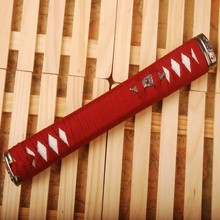 Straight Tsuka Red Silk Ito & Imitated White Rayskin & Alloy Fuchi Kashira for Japanese Samurai Sword Katana Handle Fitting HS14