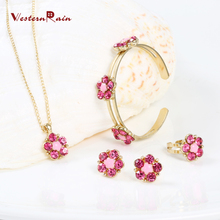 Lovely Kid Necklace Jewelry Set Fashion Pink/Green Crystal Flower Costume Jewelry Set For Girls Baby Gift  WesternRain A722