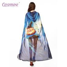 Coromose Female Halloween Butterfly Wings Shawl Scarf Cappa Peacock Pumpkin Female Fairy Nymph Party Costume Decoration Print FO(China)