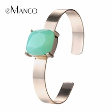 eManco 5 Color Simple Elegant Cube Cuff Bracelets & Bangles for Women Green Crystal Copper Accessories Brand Jewelry Accessories
