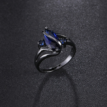 2017 Top Quality Charm Black Gold Filled Ring For Women Wedding Luxury Engagement Jewelry Blue Cubic Zircon Ring