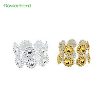 10pcs/lot Silver Golden Sun Flower Beautiful Napkin Ring Mouth Cloth Napkin Ring Seat Ring Table Decoration Party Decoration(China)