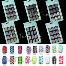 NEW Easy Use Nail Art Stamping Stencils Template Tips Vinyls Guides Nail Design Stickers Recycle