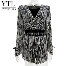 Yitonglian Women Clothing Fashion Elegant Wrap Top Flare Sleeve Slim Print Plus Size Cardigan Female Tunic Blouse Shirt 7XL 8XL