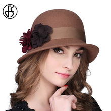 FS 2017 Ladies 100% Wool Felt Hat Handmade Flower Winter Elegant Church Fedora Black/Red Women Dome Derby Cap Headwear