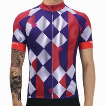 2017 Men Diamond Pattern Cycling T-shirt 100% Polyester Breathable Roupa Ciclismo MTB Bike Pro Team Racing Short Sleeve Jersey(China)