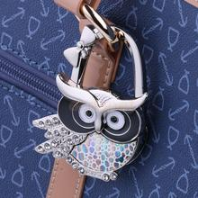 Colorful Owl Portable Table Foldable Purse Tote Bag Hanger Handbag Hook Gift(China)