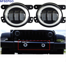 "NFSEPGO 4"" Round Led Fog Head light 30W Projector lens White Halo for Offroad Jeep Wrangler Jk Chrysler Front Bumper Boat Lights(China)"