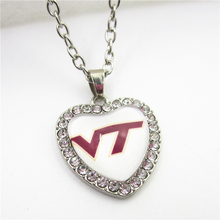 10pcs NCAA Logo Crystal Hearts Virginia Tech Hokies Necklace with 50cm Chains Necklace Jewelry sports fan Pendant Charms(China)