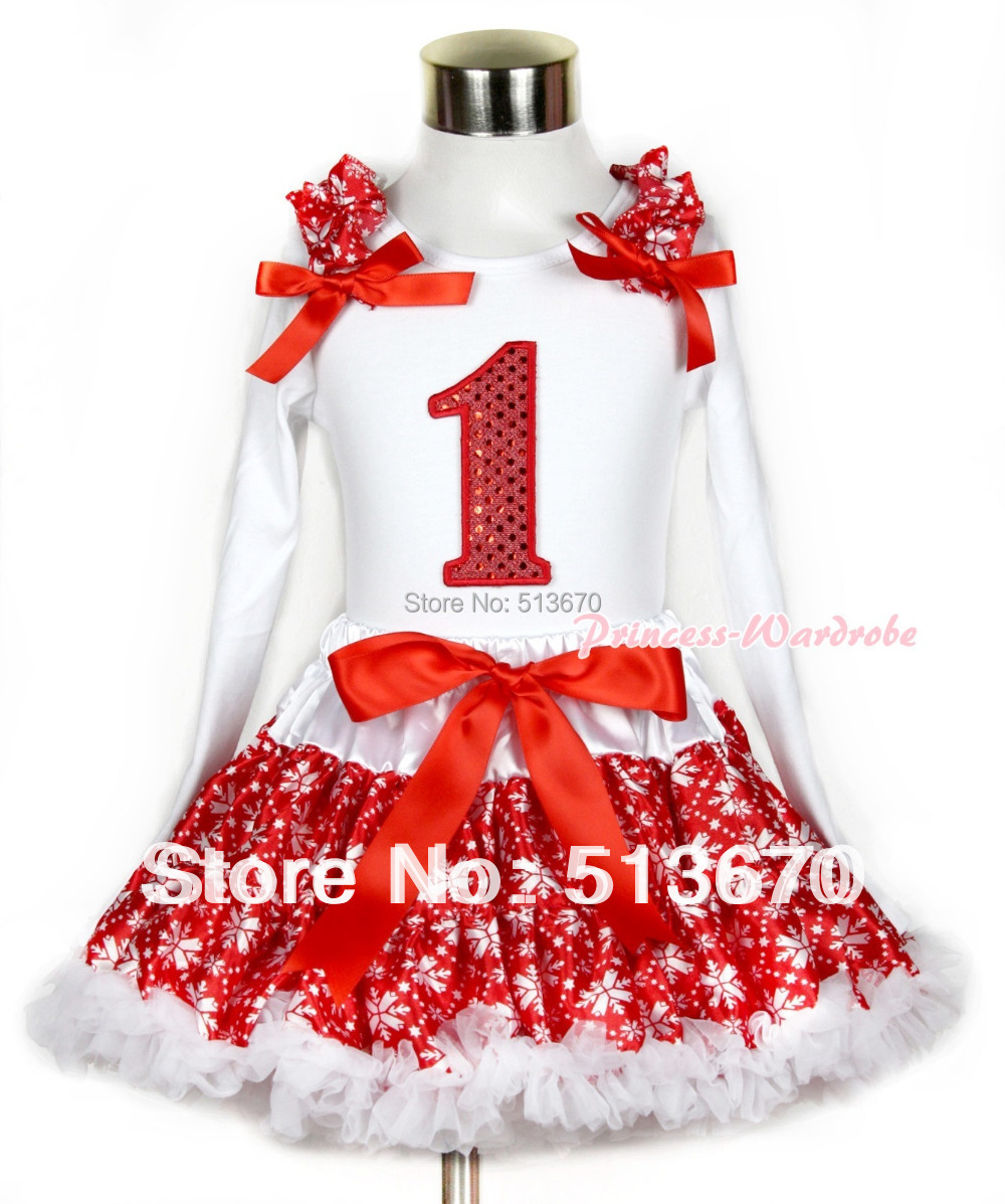 Xmas Red Snowflakes Pettiskirt 1st Sparkle Red Birthday Print White Long Sleeve Top Red Snowflakes Ruffles nd Red Bow MAMW264<br><br>Aliexpress