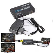 1 In 4 OUT HD 1080P 3D 1.4 HDMI Splitter Duplicator Amplifier Switch AC Adapter free shipping