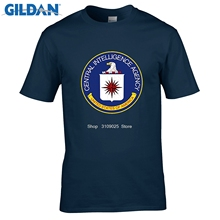 GILDAN Summer Mens CIA Central Intelligence Agency Simple T Shirt USA Navy Black Cotton O Neck Shirt Tops Brand Clothing(China)