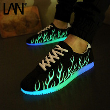 Fashion men unisex Fluorescent shoes Light Up Casual Shoes For Adults Men Flat Lace-Up Glow In The Dark Shoes(China)