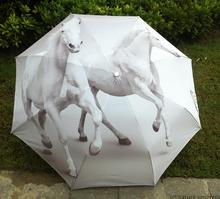 horse design Creative chinese ink painting sun rain art Umbrella 3 Fold Anti UV fashion impressionism free shipping exquisite