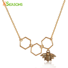 "8SEASONS Fashion Jewelry Necklace Dull Gold Color Honeycomb Bee Pendants Hollow For Women Nice Gift 48cm(18 7/8"") long, 1 Piece(China)"