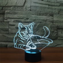New Arrival USB Charged Night Light Animal Cat LED Table Desk Lamp Colors Changing Light Lifelike for Indoor Lamp House Decor(China)