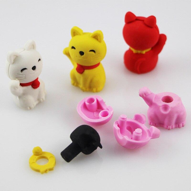 4 pcs/lot Novelty cute rabbit ship luminous rubber eraser kawaii creative stationery school supplies papelaria gifts for kids