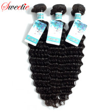 Sweetie Brazilian Deep Wave 100% Hair Bundles Human Hair Weaving Extensions non remy Natural Black 100g 1 Piece Free Shipping(China)