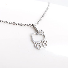 1Pc Fashion New Stainless Steel Necklace,Cute Hollow Out Hello Kitty Pendant Kids Girls Chokers Statement Necklace Lucky Gift