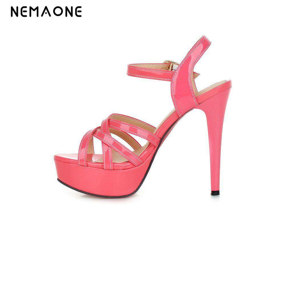 NEMAONE 2017 sandals female summer thick heel high-heeled shoes white platform female elegant open toe shoe<br>