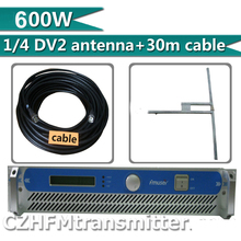 500w 600w Professional Broadcasting Radio Station FM Transmitter + 1/2 dipole DV2 antenna+ 30 meters cable  connectors