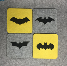 4Pcs/set Cute Batman successive dynasties Classic Superhero Square Felt Coaster Cup mats Cartoon Pad supply