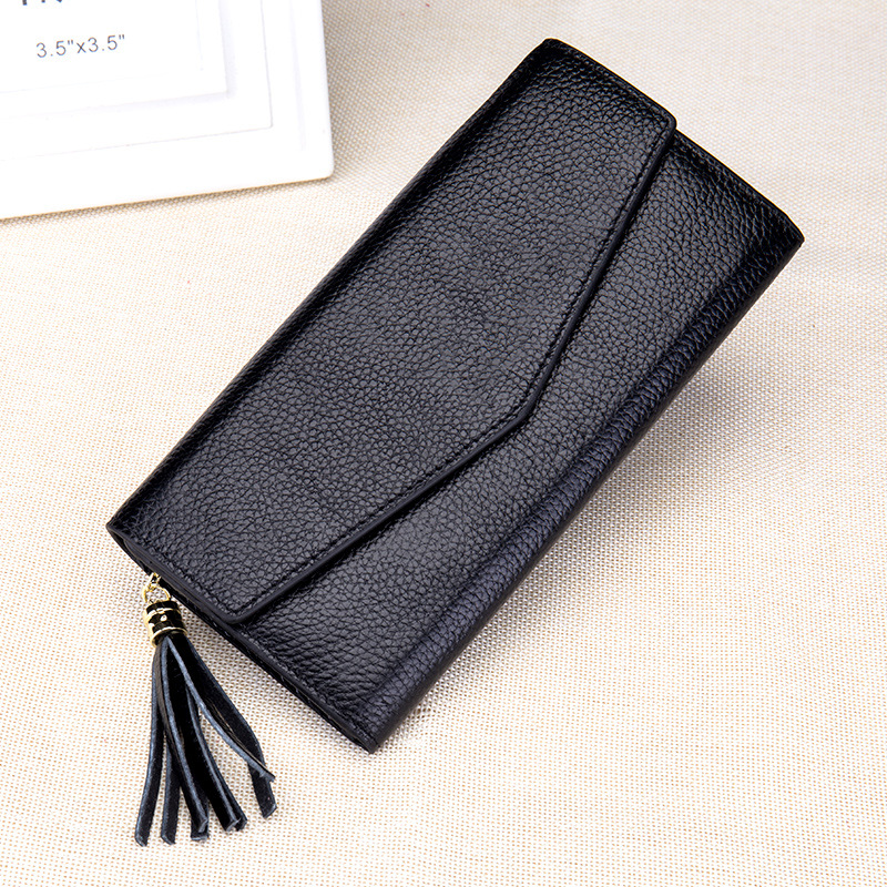 2017 Genuine Leather Hasp Zipper Long Envelope Wallet Tassels Concise Fashion Young Women ID Holders Zero Purse Credit  Card Bag<br>