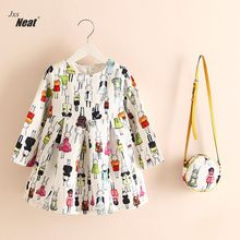 Children Kids Girls Spring Dress Kids Teens Long Sleeve Printing Pattern Cotton Dresses Clothes Vestidos GDS0834