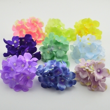 1pcs artificial silk decorative hydrangea heads simulation DIY flower head silk flower for wedding home decoration flower(China)