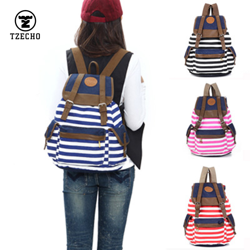 TZECHO 2017 New Vintage Canvas Backpack Women Casual Striped Printing Backpack School Bags for Girls Cute Book Campus Black<br><br>Aliexpress