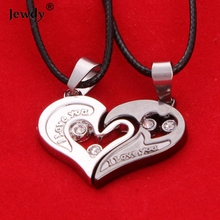 Sunshine 2 pieces a set I Love U Stainless Pendants Double Heart Necklace Couple Lovers Necklaces fine Jewelry for boy girl
