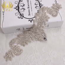(30pieces) Wholesale Handmade Sew On Hotfix Sliver Clear Bridal Embroidery Applique for Wedding Dresses Garments Bridal Belt(China)