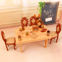 2017 Fashion Pink sweetheart kitchen table set Furniture for barbie doll children Play toys 3 style available(China)