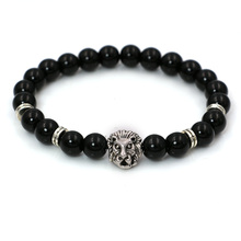 Natural Stone Black Lava Beads Bracelet Men Gold Plated Lion Head Charm Bracelet Energy Yoga Mala Bracelets