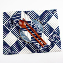 Japanese fashion Navy Print Fabric Napkins heat insulation mat dining table mat children table Placemat Cotton Linen placemats