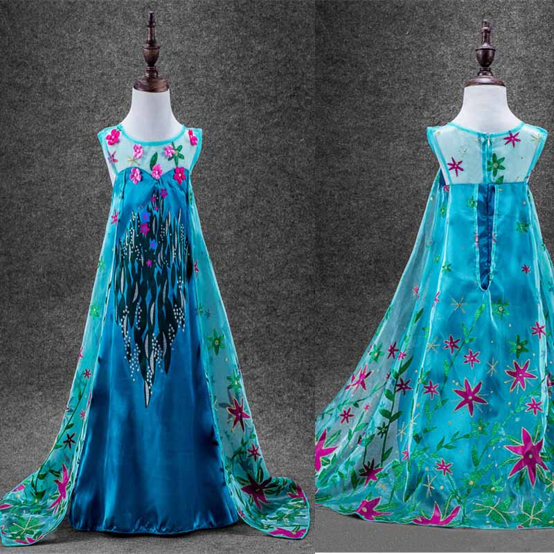 Fashion Design Flower Anna Elsa Girls Princess Children Summer Dress Cloth Party Vestidos Infants Dress Baby Kids Custom Dresses<br><br>Aliexpress