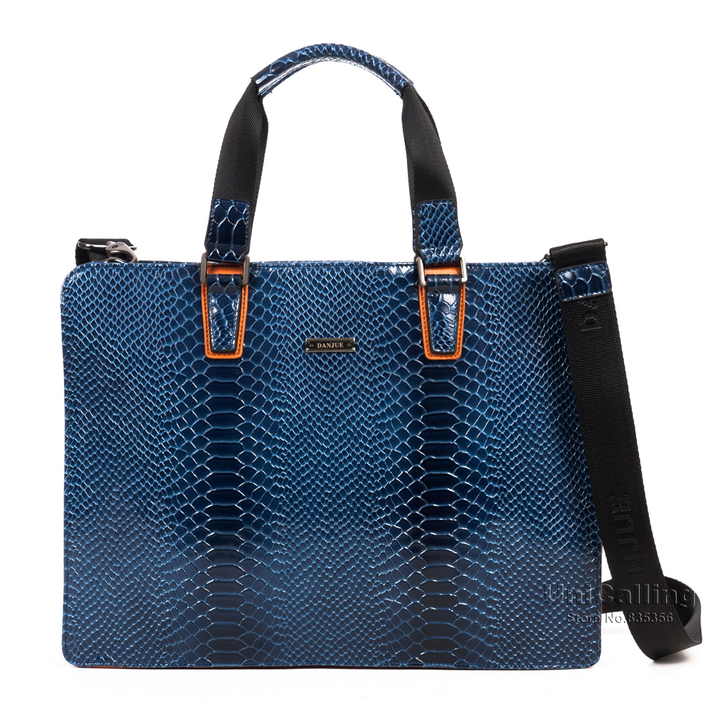 UniCalling brand gorgeous noble blue snake pattern men business bag handbag cow split leather 14 laptop portfolio bag briefcase<br><br>Aliexpress
