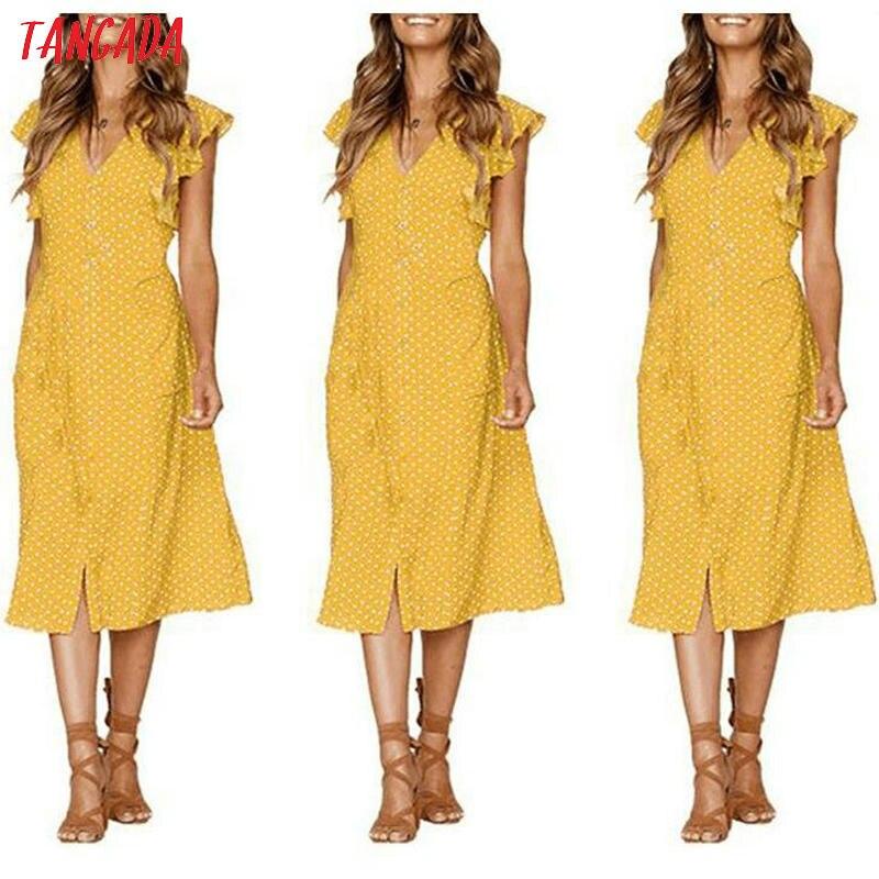 HTB10T5.kUOWBKNjSZKzq6xfWFXaK - Tangada polka dot dress for women office midi dress 80s 2018 vintage cute A-line dress red blue ruffle sleeve vestidos AON08