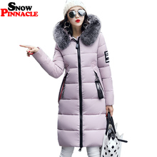 SNOW PINNACLE Women's Cotton Padded Parkas 2017 Casual Long Slim Thicken Warm Big Fur Collar Hooded Jacket Coat Plus size M-XXXL(China)