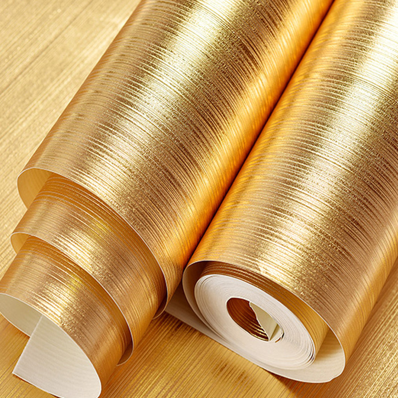 Striped Glitter Wallpaper Bar KTV Background PVC Wallpaper Roll Gold Foil Paper Material Living Room Ceiling Wall Paper Golden<br>