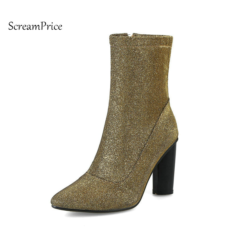 Woman Pointed Toe Sqaure High Heel Mid Calf Boots Fashion Side Zipper Dress Boots Short Plush Winter Boots Sliver Gold<br>