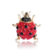 Kawaii Mini Red Beetle Ladybug Brooches For Women Man Kids Oro Crystals Broches Suit Sweater Coat Pins Hijab Scarf Clips Spille(China)