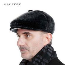 High Quality Snapback Winter Woolen Ear Elderly Men Cap Thick Warm Beret Hat  Design Visor Cap winter mink Ball ski rabbit hat