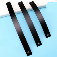 128mm-256mm Thickened aluminum handle Furniture cupboard Drawer  Door handle Black surface mounted handle