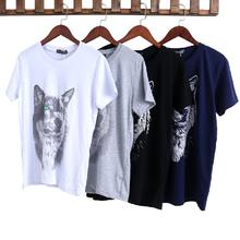 2017 new arrival fashionLarge Size Loose Shirts Cotton Shirt Unique Animal Wolf Design(China)