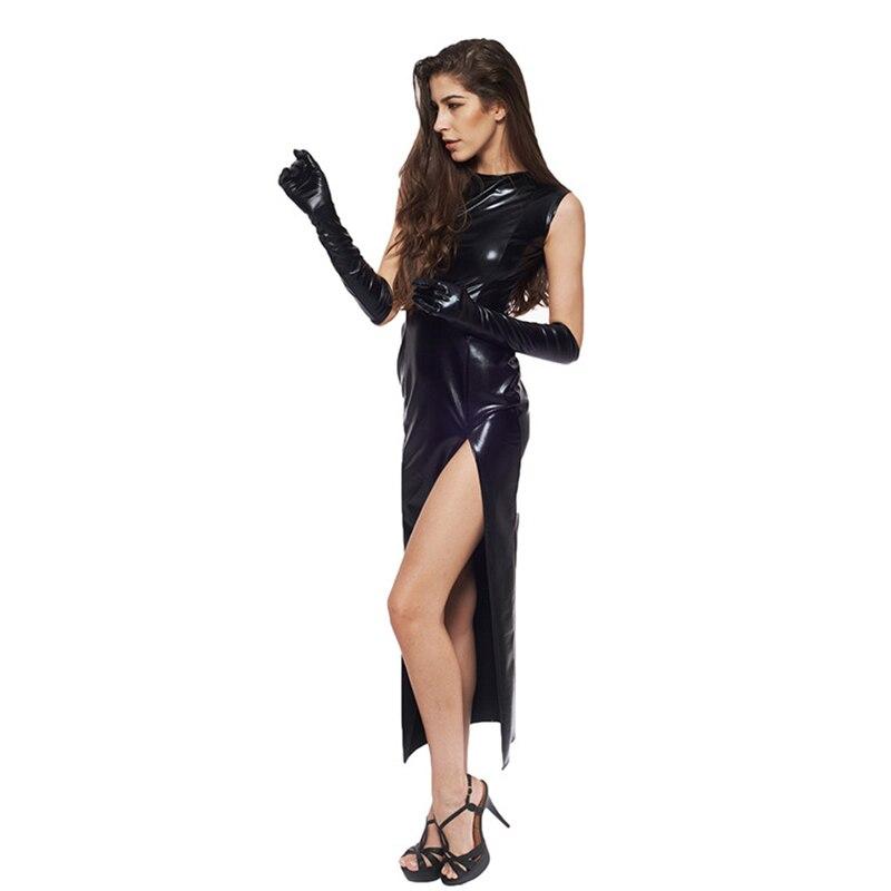 Sexy Fetish Black Vinyl Leather Bodysuit Lingerie Dress Erotic Bondage Latex Long PU Dress and Gloves Clubwea 6
