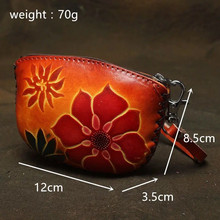 ALAVCHNV Pure handicrafts national wind tannery simple single layer zipper bus card package mini lady coin bag L5