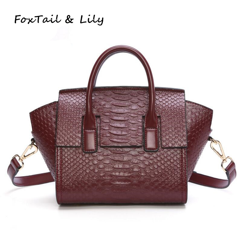 FoxTail &amp; Lily Classic Crocodile Pattern Fashion Shoulder Bags Woman Handbag Small Tote Female Messenger Bags Composite Cowhide<br>